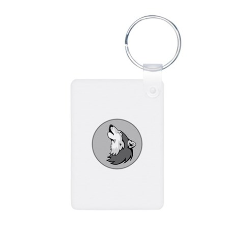 Wolf in Shades of Gray. Aluminum Photo Keychain