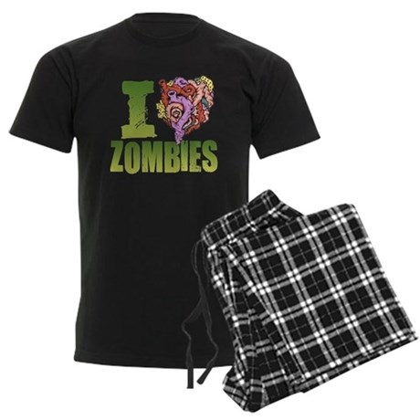 I Heart Zombies Men's Dark Pajamas