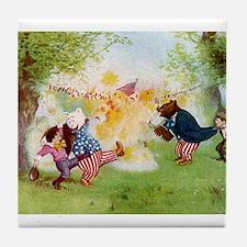 Roosevelt Bears Firecrackers Tile Coaster
