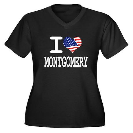I LOVE MONTGOMERY Women's Plus Size V-Neck Dark T-