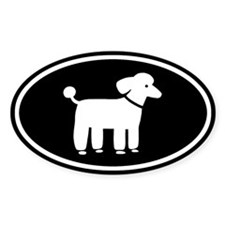 White Poodle Oval Decal