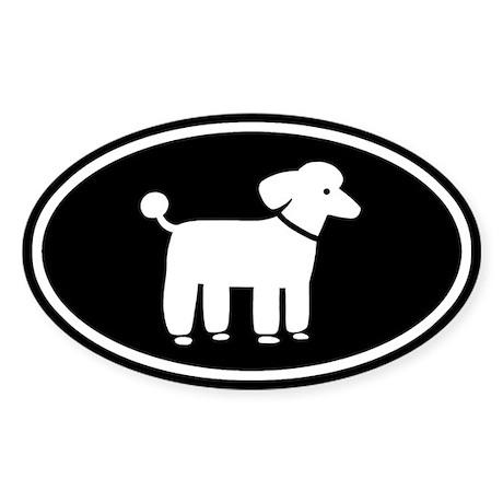 White Poodle Oval Sticker