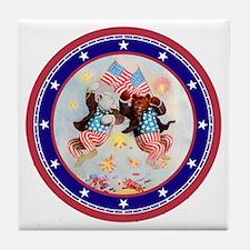 Roosevelt Bear Patriots Tile Coaster