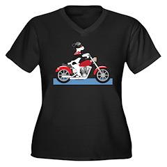 Dog Motorcycle Women's Plus Size V-Neck Dark T-Shi