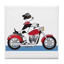Dog Motorcycle Tile Coaster