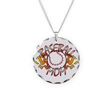Baseball Mom Necklace Circle Charm