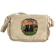 AutumnSun-Two black Pugs Messenger Bag