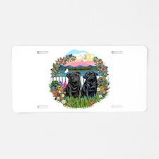 Garden-Shore-2 Black Pugs Aluminum License Plate