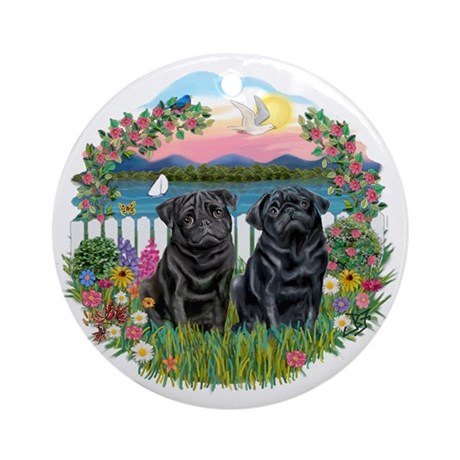 Garden-Shore-2 Black Pugs Ornament (Round)