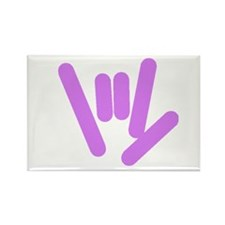 ASL Rocks: Purple Rectangle Magnet