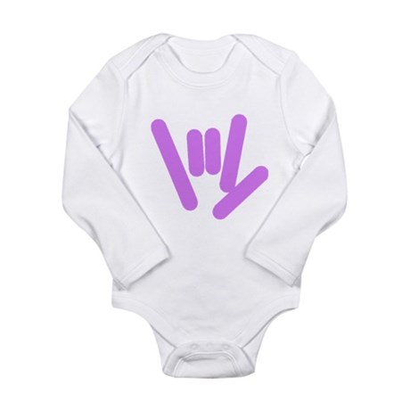 ASL Rocks: Purple Long Sleeve Infant Bodysuit