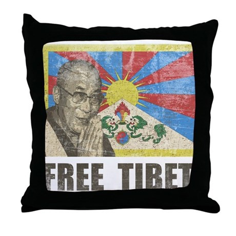 Dalai Lama Free Tibet Throw Pillow
