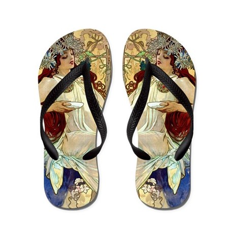 mucha fall flip flops by designdivagifts2. Black Bedroom Furniture Sets. Home Design Ideas