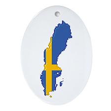 """Pixel Sweden"" Oval Ornament"