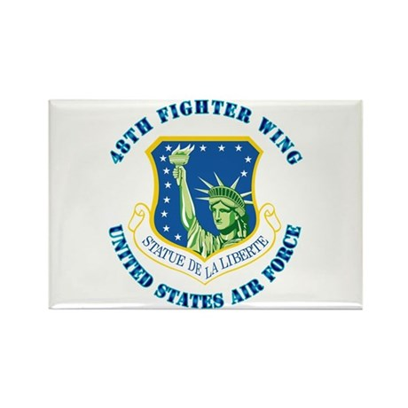 48th Fighter Wing with Text Rectangle Magnet (100