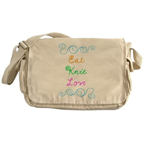 Eat Knit Love Messenger Bag