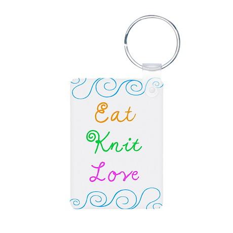 Eat Knit Love Aluminum Photo Keychain