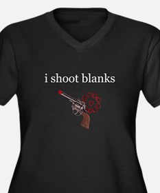 I Shoot Blanks Women's Plus Size V-Neck Dark T-Shi