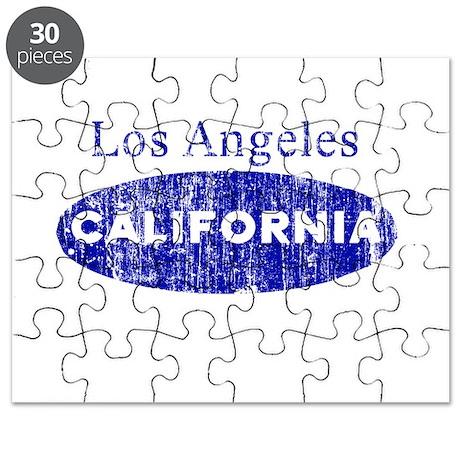 Vintage Blue Los Angeles Cali Puzzle