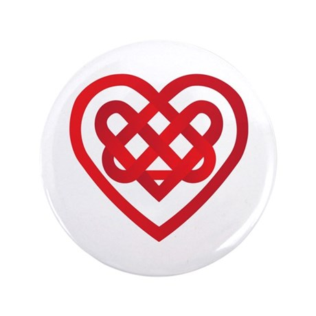 "Red Celtic Knot Heart Valentines Day 3.5"" Button"