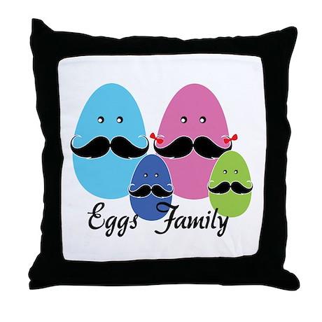 Moustache eggs family Throw Pillow