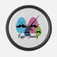 Moustache eggs family Large Wall Clock