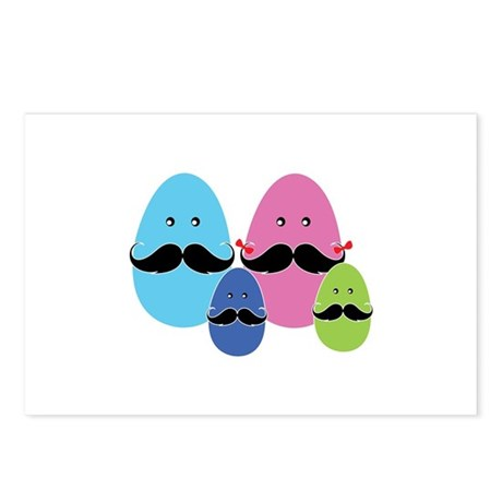 Moustache eggs family Postcards (Package of 8)