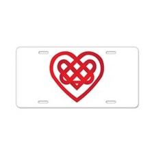 Red Celtic Knot Heart Valenti Aluminum License Pla