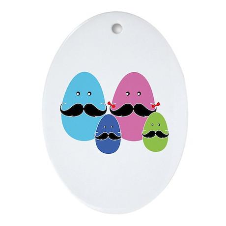 Moustache eggs family Ornament (Oval)