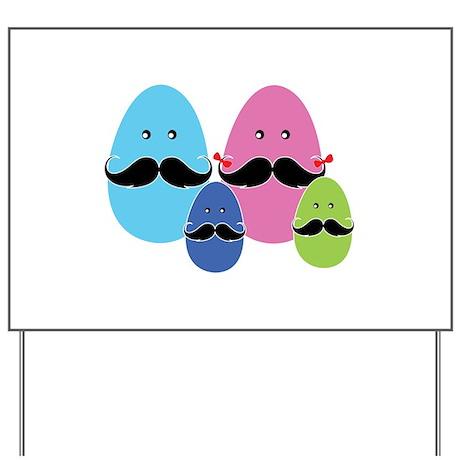 Moustache eggs family Yard Sign