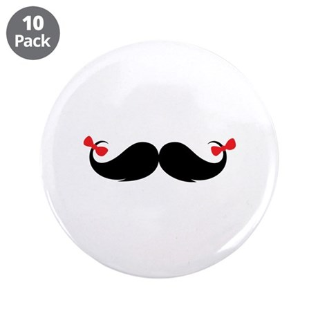"Moustache 3.5"" Button (10 pack)"