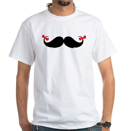 Moustache White T-Shirt