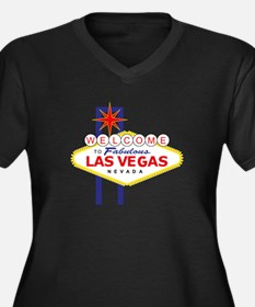 Las Vegas Women's Plus Size V-Neck Dark T-Shirt