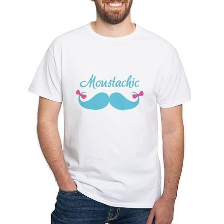 Moustachic White T-Shirt