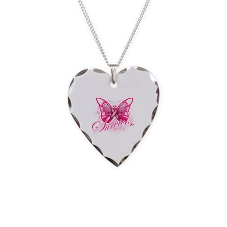 Survivor - Breast Cancer Necklace Heart Charm