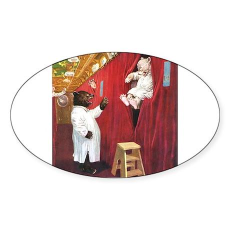 Roosevelt Bears In Sleeping Car Sticker (Oval 50 p