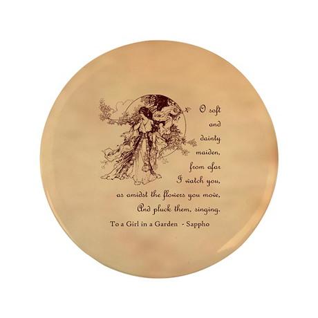 """Girl in a Garden 3.5"""" Button (100 pack)"""