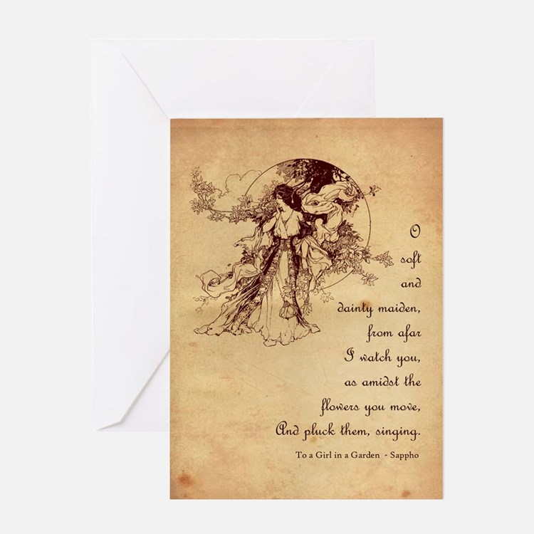 Girl in a Garden Greeting Card