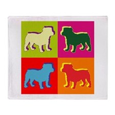 Bulldog Silhouette Pop Art Throw Blanket