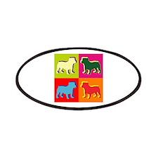 Bulldog Silhouette Pop Art Patches