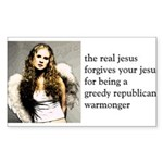 The Real Jesus Forgives Your Sticker (Rectangular