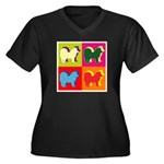 Chow Chow Silhouette Pop Art Women's Plus Size V-N