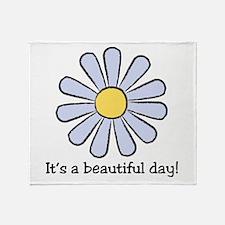 Blue Daisy - Beautiful Day Throw Blanket