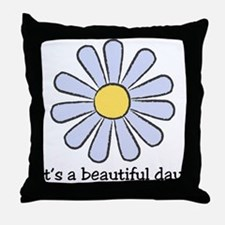 Blue Daisy - Beautiful Day Throw Pillow