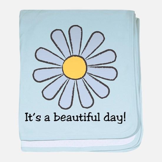 Blue Daisy - Beautiful Day baby blanket