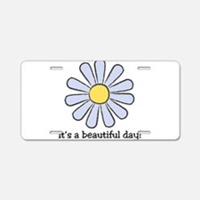 Blue Daisy - Beautiful Day Aluminum License Plate