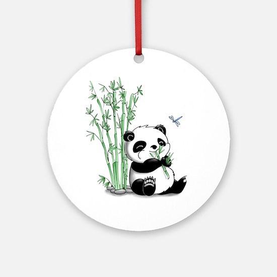 Panda Eating Bamboo Ornament (Round)