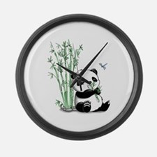 Panda Eating Bamboo Large Wall Clock