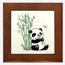 Panda Eating Bamboo Framed Tile
