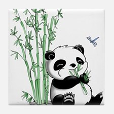 Panda Eating Bamboo Tile Coaster